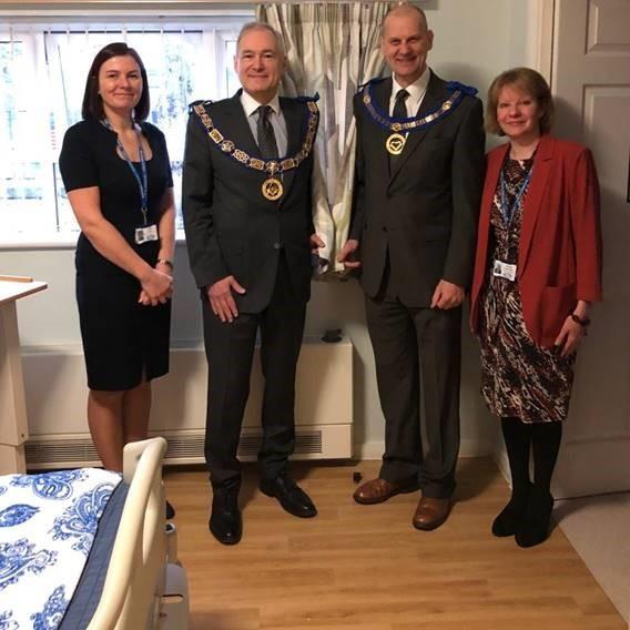 (Left to right) In front of the new curtains are Julia Evans fundraising development manager, Cheshire Freemasons Stephen Blank and Jeff Cunningham and Teresa Nightingale, Head of fundraising