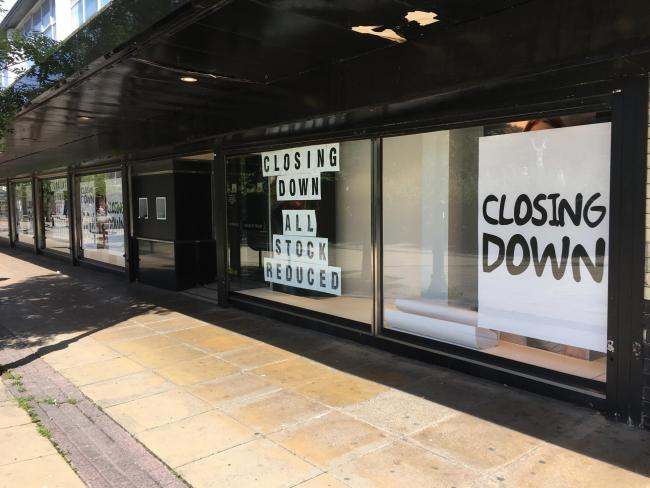 Closing down signs have appeared in House of Fraser's shop window
