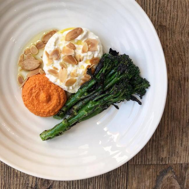 One of the new dishes - burrata with charred tenderstem broccoli, romesco sauce and almonds