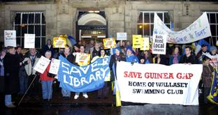 Thousands of campaigners protested against the library closures