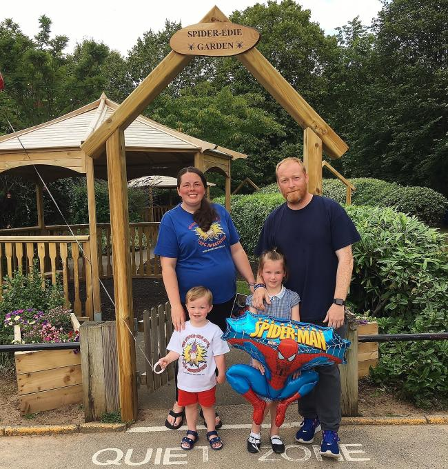(Left to right) Edie's mum Ashleigh, dad Steve, little brother Len and big sister Niamh outside the Spider-Edie garden at Church Drive Primary School