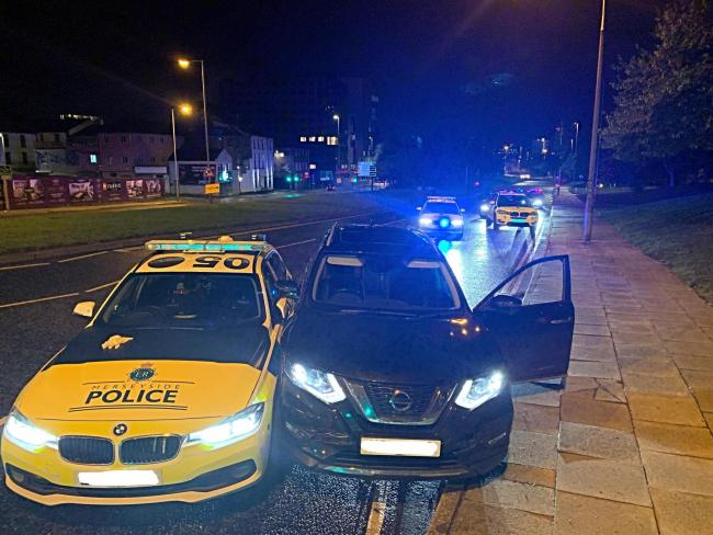 The car was stopped by the force's Roads Policing team in Islington and two men were arrested at the scene (Roads Policing Unit)