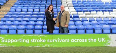Dawn Tolcher, managing director of Tranmere Rovers Football Club, with Craig Pankhurst, founder of A Stroke of Luck (ASL), at Prenton Park