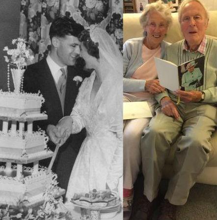 Joyce and Colin Ratcliffe on their wedding day in September 1959 at Westbourne Road Methodist Church, West Kirby and celebrating their Diamond Anniversary at home today,  Pictures courtesy of Angela Penney