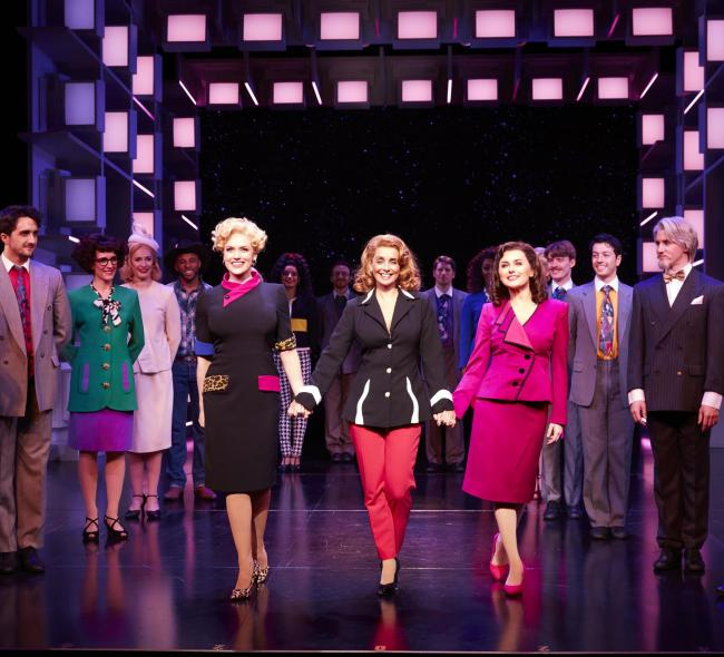 Natalie McQueen 'Dolores Rhodes', Louise Redknapp 'Violet Newstead' and Amber Davies in scene from '9 to 5 musical. Picture: Simon Turtle