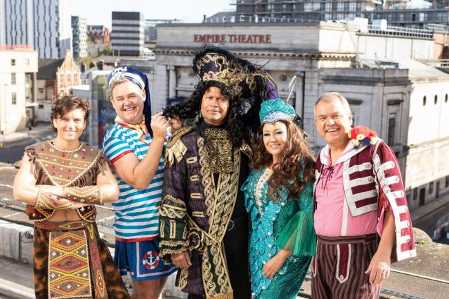 (Left to right) Asa Elliott as Tiger Billy, Tony Maudsley as Kenneth the Cabin Boy, Louis Emerick as Captain Hook, Niki Evans as The Magical Mermaid and John Evans as Smee