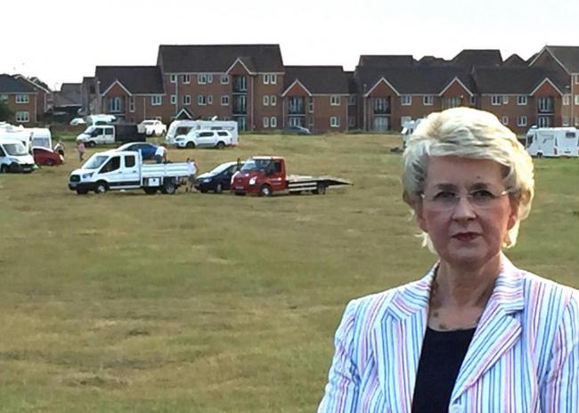 FLASHBACK: Councillor Lesley Rennie at The Dips where travellers had set up camp in June last year.