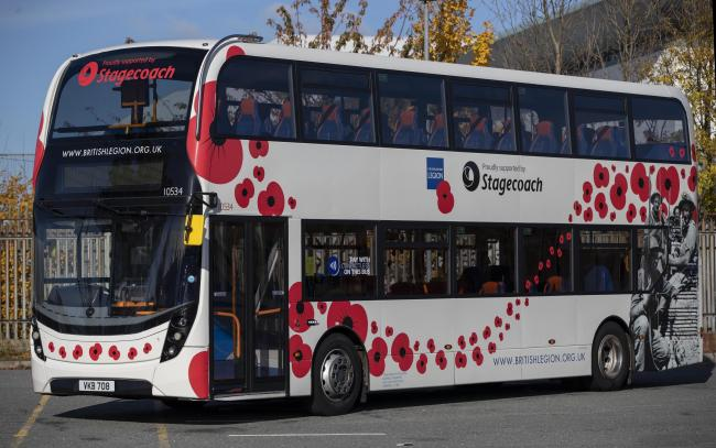 Stagecoach's striking remembrance bus has been an annual feature since 2017, when the company announced its partnership with The Royal British Legion