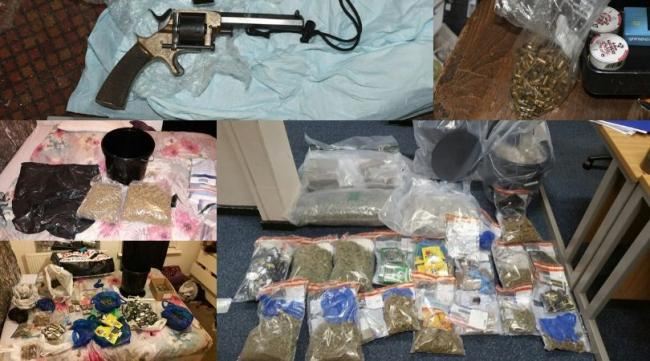 Some of the drugs, ammunition and guns seized by police during the raids on Friday, November 8 (Picture: Merseyside Police)
