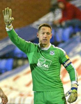 Goalkeeper Scott Davies during game that ended in 1-0 victory for Tranmere Rovers against Crewe Alexandra at Prenton Park in March. Picture: Tony Coombes