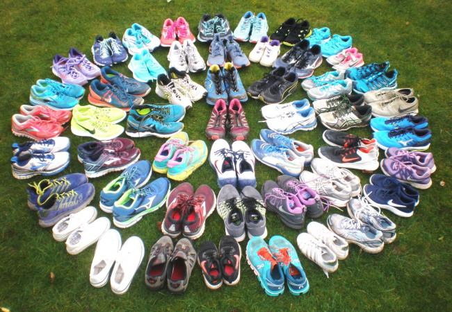 The training shoes donated by Pensby Runners to Charles Thompson Mission