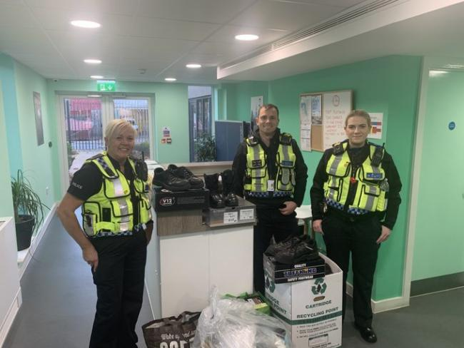 British Transport Police's PS Owens, PC Davin and PCSO Corbett delivered the donations earlier in the week