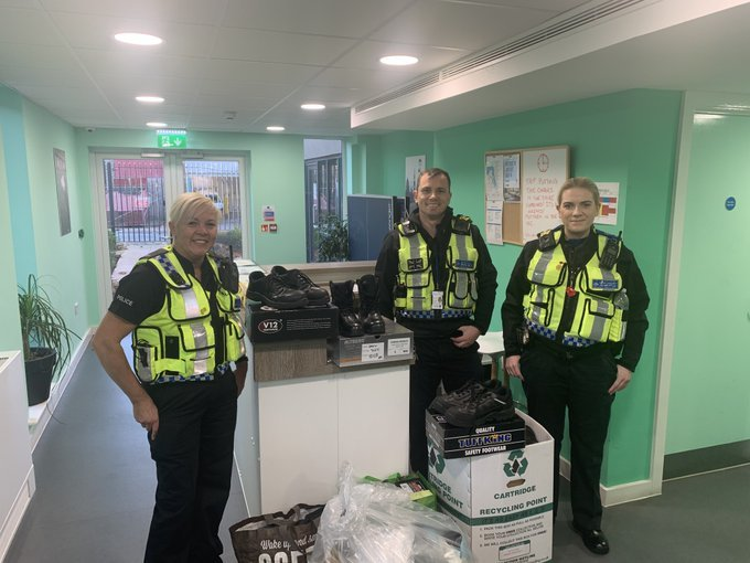 British Transport Police officers donate boots to Wirral's homeless
