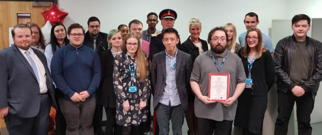 Lord-Lieutenant of Merseyside, Mr Mark Blundell with Karen Howell, chief executive of WCHC and local young people have completed the inaugural Prince's Trust 'Get into Admin and Health Services' programme.