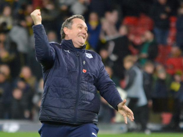Wirral Globe: Micky Mellon was thrilled by Rovers' victory of Watford in the FA Cup Third Round. Photo: Tony Coombes