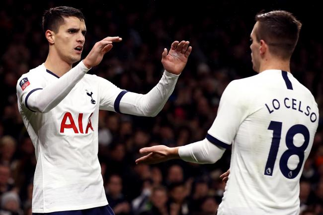 Erik Lamela, left, celebrates his goal with fellow scorer Giovani Lo Celso