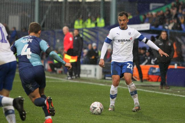 Kane Wilson in action for Tranmere earlier in the season. Photo: Tony Coombes