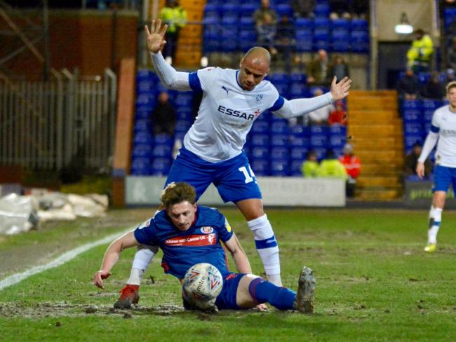 Jake Caprice tries to win the ball for Tranmere. Photo: Tony Coombes