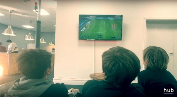 Wirral Globe: Kids at the Life Youth Hub get stuck into a game of FIFA Soccer