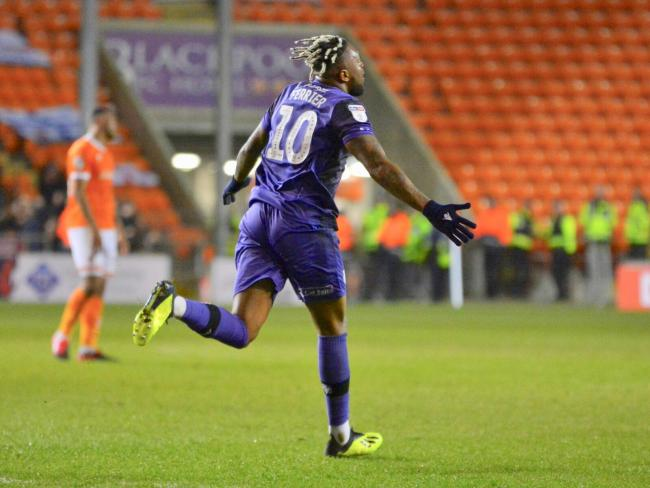 Morgan Ferrier opens the scoring for Tranmere against Blackpool. Photo: Tony Coombes