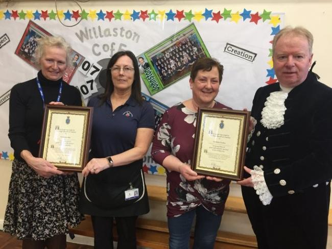 Mrs Edge, Mrs Moss and Mrs Forshaw receive their awards