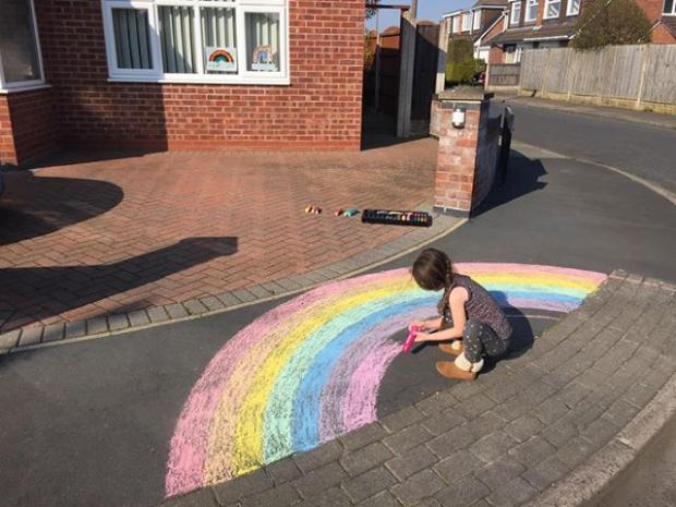 Wirral Globe: Miley at work on her rainbow