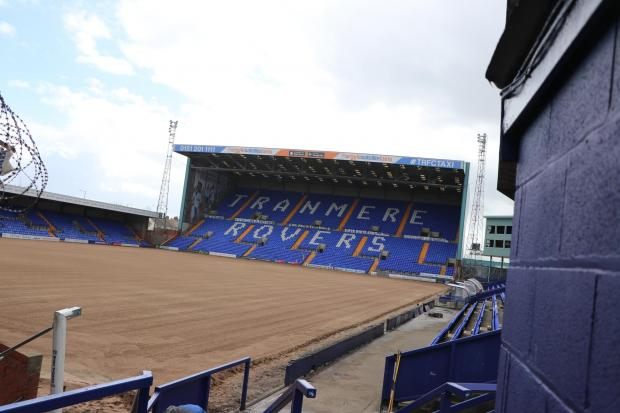 Wirral Globe: The struggling Prenton Park pitch has been dug up