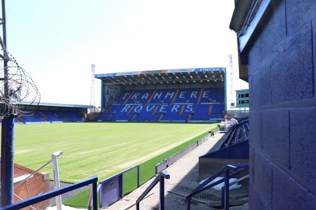 Wirral Globe: The new pitch a Prenton Park begins to take shape. Photo: Richard Garnett