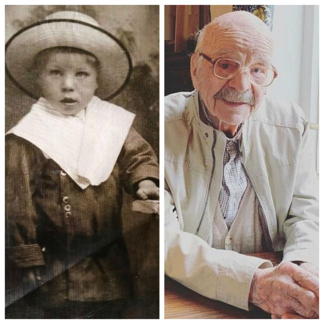 Tom, aged two, in 1915 and celebrating 106th birthday last year. Pictures supplied by granddaughte Jess Clarke