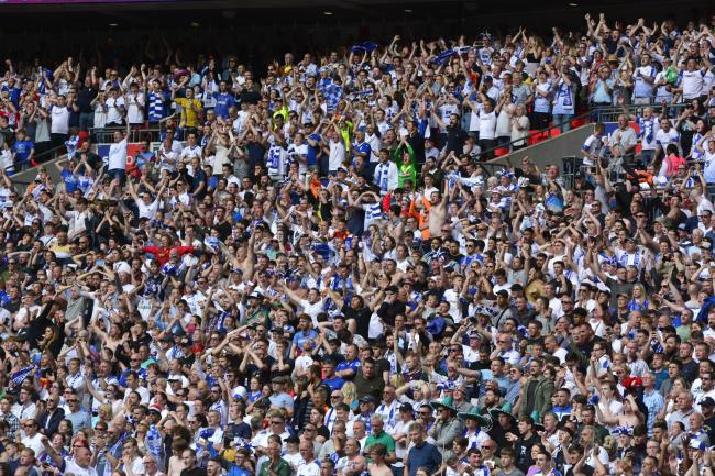 Tranmere's supporters watched their team get promoted at Wembley last year but they could be relegated by a vote before the days is out. Photo: Tony Coombes