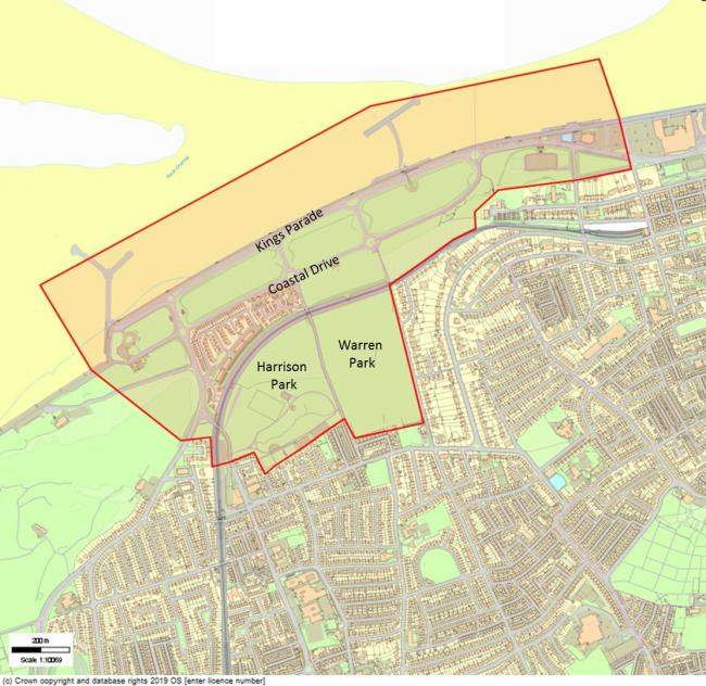 The area covered by this weekend's dispersal zone in New Brighton