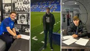 George Nugent, Kyle Hayde and Jake Burton have all signed their first one year professional contracts with Tranmere Rovers. Picture: Tranmere Rovers website