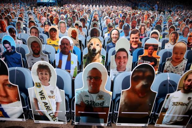 Wirral Globe: Cardboard cut-outs of supporters at Elland Road, Leeds (Martin Rickett/PA)
