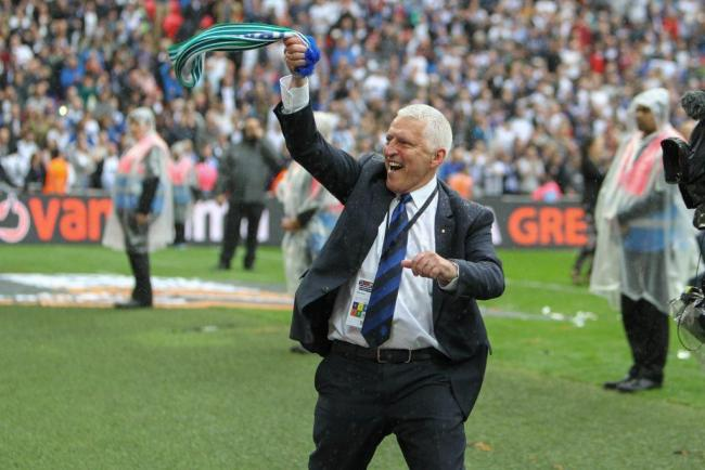 Tranmere Rovers chairman Mark Palios celebrating the play-off final triumph at Wembley Stadium. Photo: Tony Coombes