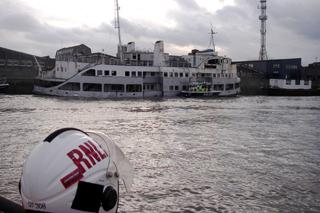 The derelict Royal Iris rotting in the Thames