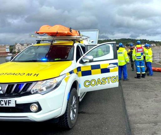 Two stranded swimmers stuck on a groyne near Fort Perch Rock at New Brighton were rescued by Wirral Coastguard lifeboat crews Picture taken at an earlier rescue