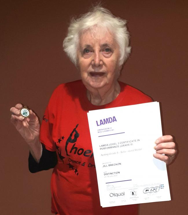 Jill Breckon, aged 83, has become the oldest person to take her LAMDA Acting Exams. Picture courtesy of Alyssa Mackenzie