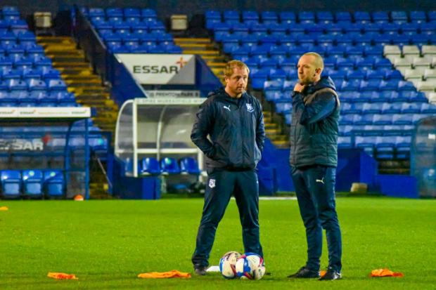 Wirral Globe: Keith Hill's new coaching team of Ian Dawes and Andy Parkinson. Photo: Phil Bryan