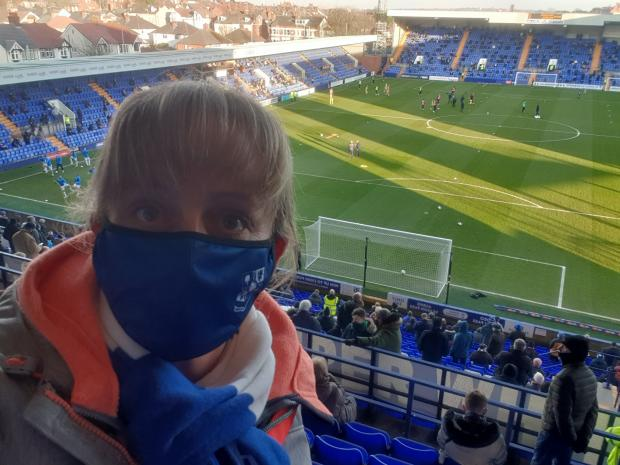 Wirral Globe: Nichola Smith in the Kop before kick off