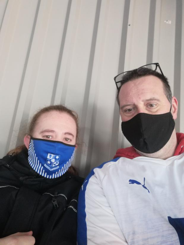 Wirral Globe: Matt Hughes and his partner and the back of the stand