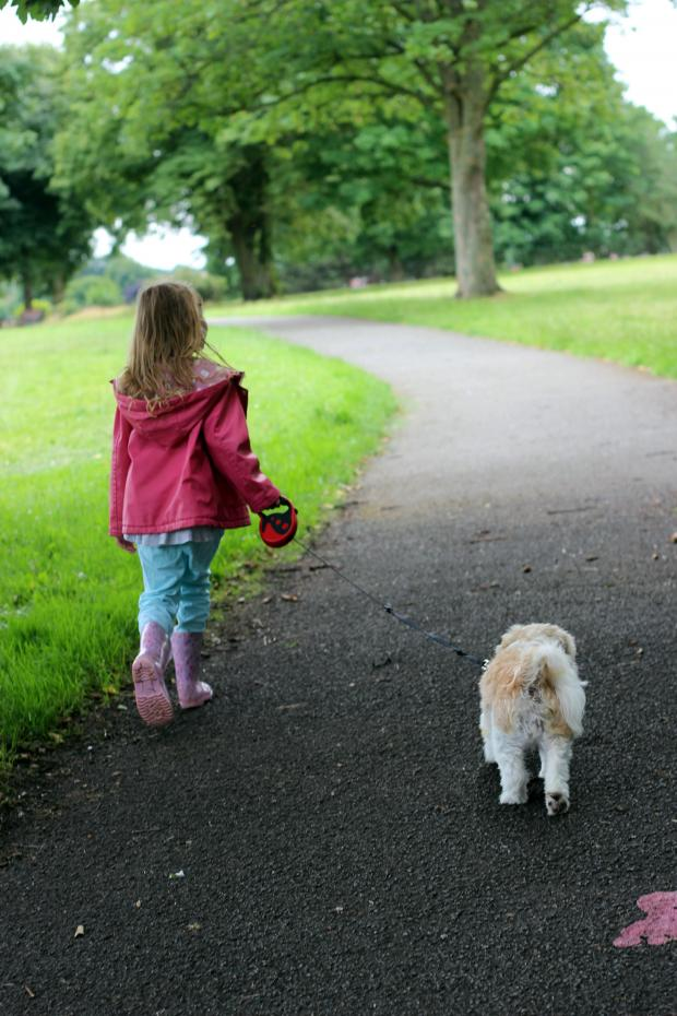 Wirral Globe: Eldest daughter Amelia walking Lola
