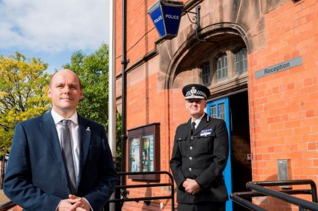 Police and crime commissioner David Keane and outgoing Cheshire Police chief constable Darren Martland