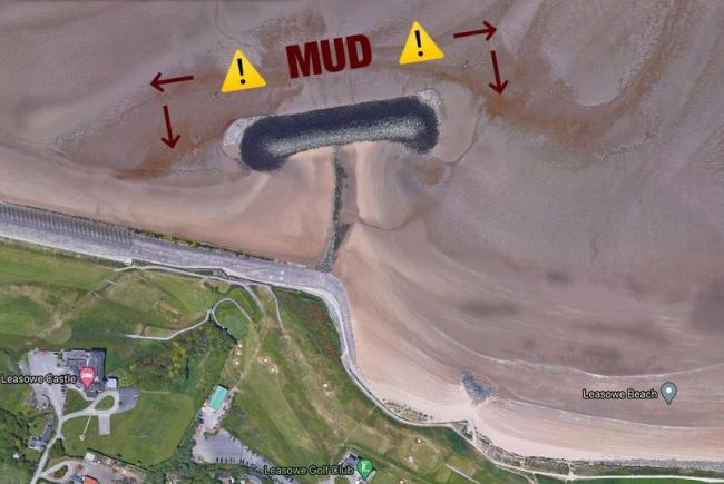 Picture from Wirral Coastguard Team showing the danger area near Leasowe Bay