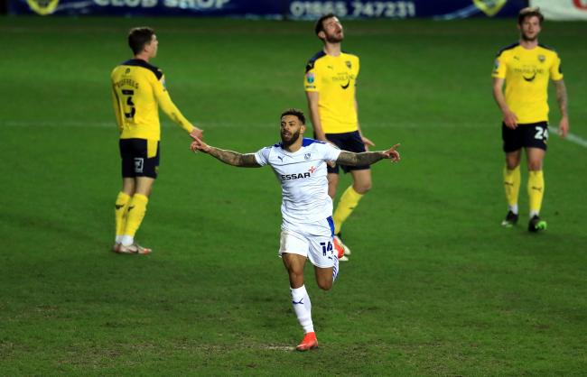 Kaiyne Woolery celebrates after his goal gave Tranmere the lead against Oxford United. Photo: Adam Davy/PA Wire