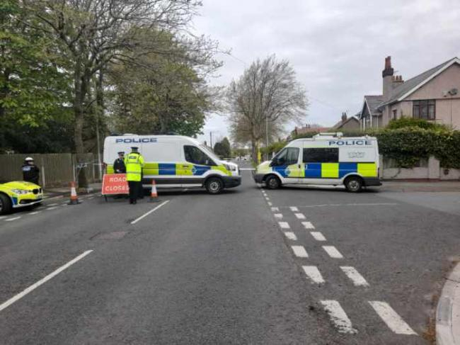 Road closure in Upton after incident involving car and bicycle. Picture: Craig Manning