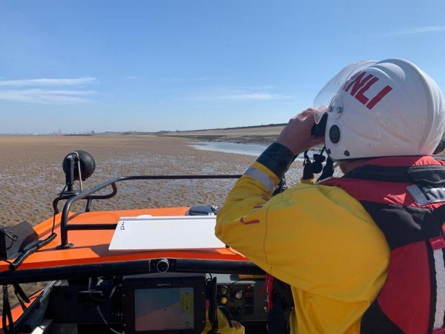 The dog was rescued from the incoming tide by RNLI crew as he struggled to reach the hovercraft in Leasowe Bay. Picture: Hoylake RNLI
