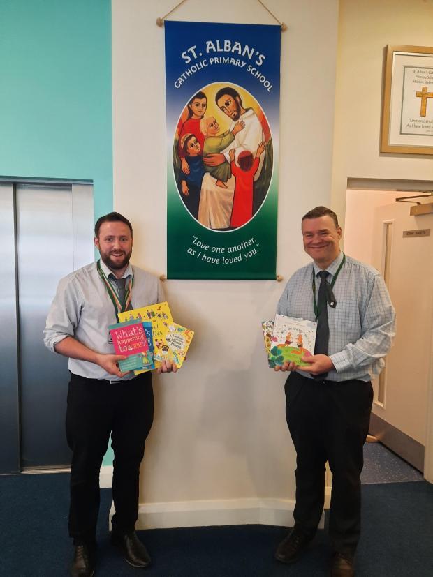 Wirral Globe: Head of literacy, Mr McGarry and Head Teacher of St Alban's School Mr McDonald
