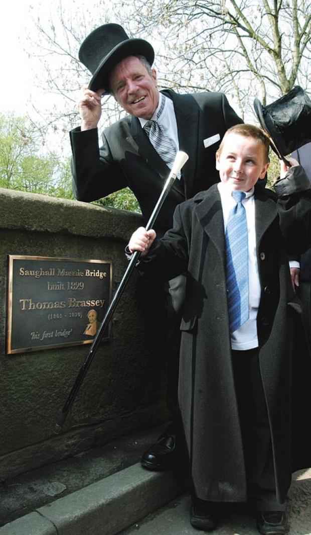 Wirral Globe: HATS OFF: local historian John Whittingham and Samuel Parker, aged nine, who entered into the spirit of the times and dressed as Thomas Brassey