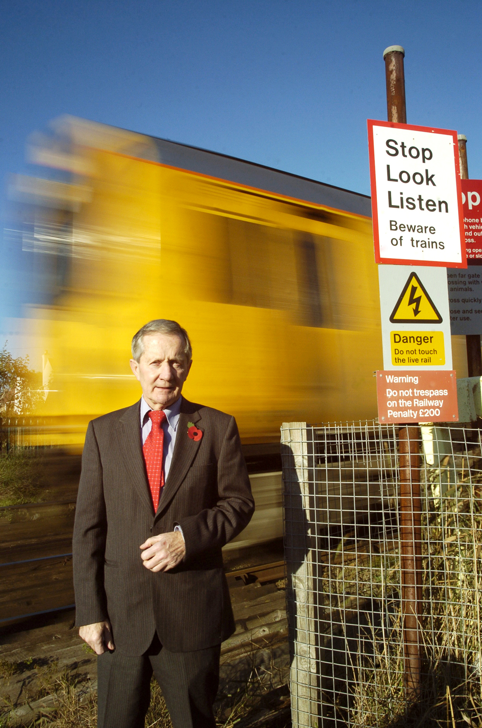 FLASHBACK: Cllr Ellis at an unmanned Hoylake level crossing last year
