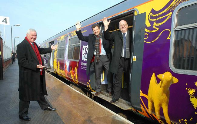 ALL ABOARD:  From left: Cllr Mark Dowd, chairman of Merseytravel, Bart Schmeink, managing director of Merseyrail and Cllr Chris Blakeley, chair of Merseytravel's rail committee, launch the new look culture train.